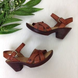 Born Brown Leather Ankle Strap Block Heel Sandals